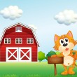 A cat holding an empty signboard with a barn at the side — Stock Vector