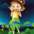 A scared young girl at the forest — Stockvectorbeeld