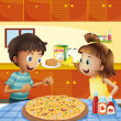 Stock Vector: Kids at the kitchen with a whole pizza at the table
