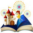Stock Vector: Storybook with flying fairy near castle with fireworks