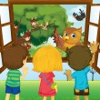 Stock Vector: Three kids watching different animals in forest