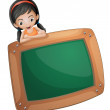 A girl at the back of a chalkboard — Imagen vectorial