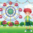 A boy holding a lollipop beside a ferris wheel — Stock Vector