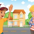 A boy and a girl talking across the neighborhood — Stock Vector