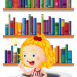 A girl studying in front of the bookshelves — Vector de stock