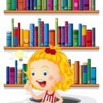 een meisje studeren voor de boekenplanken — Stockvector