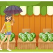 A girl holding an umbrella walking in front of the watermelon sh — Stock Vector