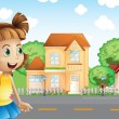 Stock Vector: Girl walking across neighborhood