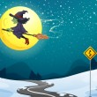 A witch floating with her broomstick — Stock Vector