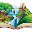 A storybook with an image of nature and a fairy — Stock Vector #27918441
