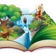 Stock Vector: Storybook with image of nature and fairy