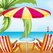 A chair and an umbrella at the beach — Stock Vector #27918557