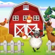 Animals at the farm with a barnhouse — Imagen vectorial