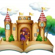 Stock Vector: Storybook with castle and witch