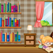 Two girls reading books beside bookshelves — Stock Vector #27918965