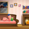 A worm reading a book near the fireplace — Stock Vector #27919259