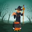 An ugly witch holding a cane — Stock Vector