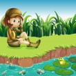 Stock Vector: A girl wearing a hat sitting at the riverbank