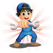 A male mechanic holding a wrench — Stock Vector
