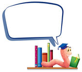 A worm reading a book with an empty callout — Stock Vector