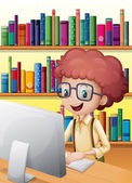 A smart boy in the library — Stock Vector