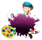 A young boy painting — Stock Vector