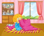 A girl folding her blanket — Stock Vector