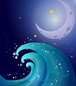 An image of a big wave and a moon — Stock Vector