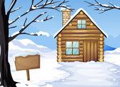 Una casa di legno vicino al cartello vuoto — Vettoriale Stock