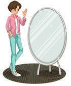 A sparkling mirror beside a fashionable young man — Stock Vector