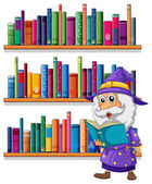 A wizard reading a book in front of the bookshelves — Stock Vector