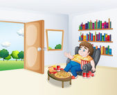 A sad fat boy sitting in the sofa in front of the bookshelves — Stock Vector