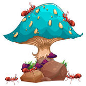 A giant mushroom and a colony of ants — Stock Vector