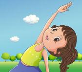 En söt liten flicka som utövar — Stockvektor