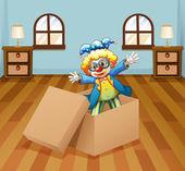 A clown inside the box — Stock Vector