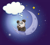 A panda thinking at the crescent moon with an empty callout — Stock Vector