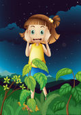 A scared young girl at the forest — Vector de stock