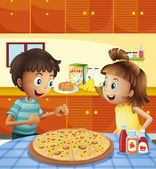 Kids at the kitchen with a whole pizza at the table — Stock Vector