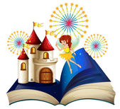 A storybook with a flying fairy near the castle with fireworks — Stock Vector