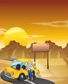 A girl fixing the yellow car at the desert with an empty signboa — Stock Vector