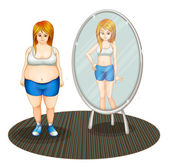 A fat girl and her skinny reflection — Stock Vector