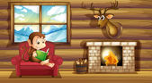 A monkey reading at the chair near the fireplace — Stock Vector