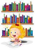 A girl studying in front of the bookshelves — Stock Vector