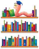 An earthworm reading at the top of the bookshelves — Stock Vector