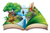 A storybook with an image of nature and a fairy — Stock Vector
