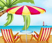 A chair and an umbrella at the beach — Stock Vector