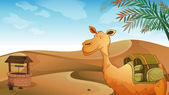A camel with a well at the desert — Stock Vector