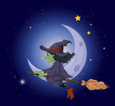 A witch riding on a broomstick floating near the moon — Stock Vector