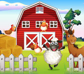 Animals at the farm with a barnhouse — Stock Vector