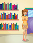 A lady standing in front of the bookshelves — Stock Vector